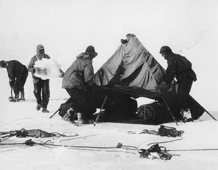 Captain Robert Falcon Scott and companions at the Antarctic, 1912.