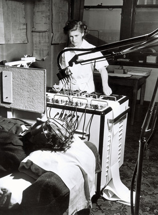 Monitoring on a brainwave machine, 24 April 1950.