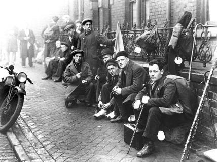 Lancashire hunger marchers resting, 1932. '