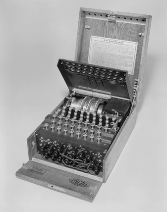 Three-ring 'Enigma' cypher machine, c 1936.