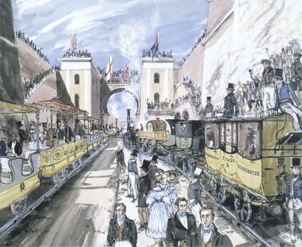 Opening of the Liverpool and Manchester Railway, Liverpool, 1830.