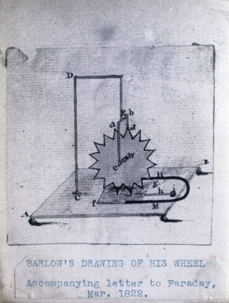 Barlow's wheel, March 1822. Original sketch