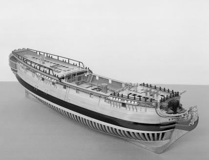 Model (unrigged) of a 20-gun ship, in glaze