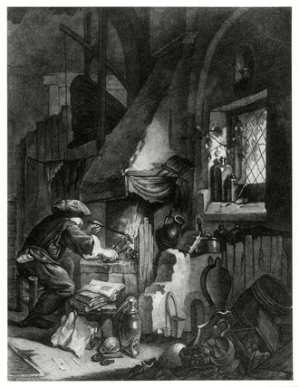 'Le chimiste en operation', an engraving showing an alchemist at work.