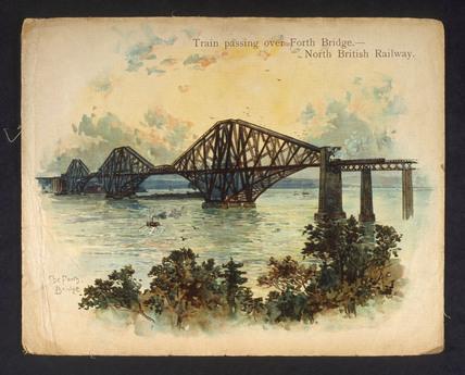 'Train passing over Forth Bridge. North British Railway', c 1890-1891.