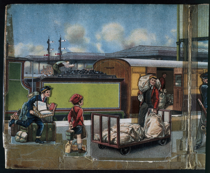 Travellers going on holiday by rail, late 1