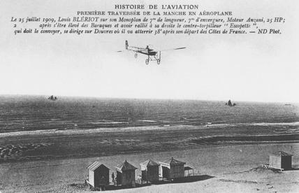 Bleriot's cross-channel flight, 25 July 1909.