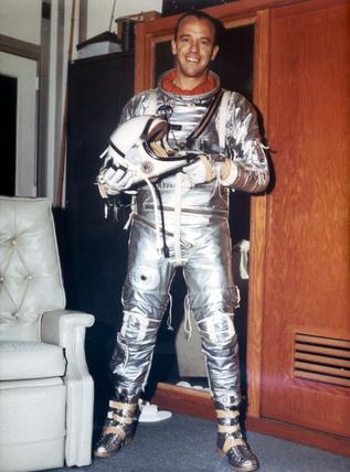 Astronaut Alan Shepard in Mercury Pressure Suit, 1961.