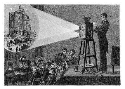 Magic lantern show, 1881. This engraving of