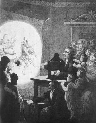 Magic lantern show, c 1820. Acquatint.