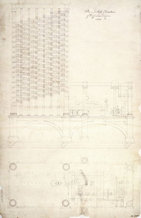Plan and side elevation of Babbage's Difference Engine No 1, 1830.