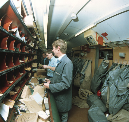 Sorting mail on the TPO, Newcastle to St Pancras, 1987.