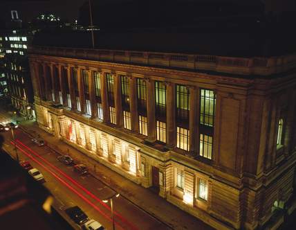 The Science Museum at night, c 1993.