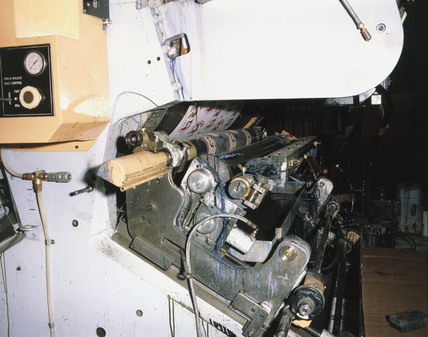 Printing rollers on a flexographic printing press, 1982.