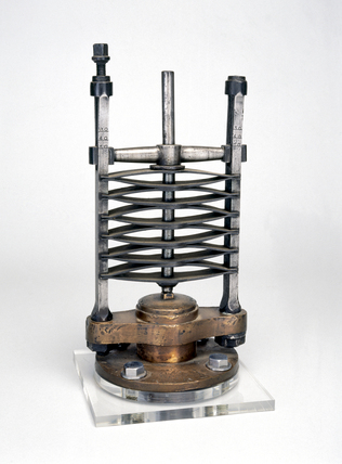 Spring safety valve, c 1830. This design of