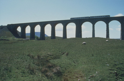 Train crossing Ribblehead Viaduct, 14 June 1994.