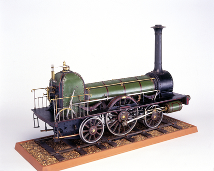 'Long Boiler' locomotive, c 1845. Model (sc