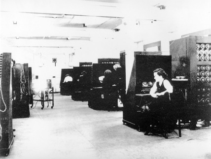 Code-breaking on 'Bombe' machines, c 1943.