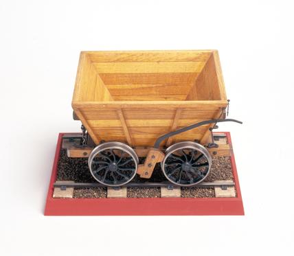 Hopper coal wagon, c 1825. Model (scale 1:8