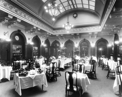 Dining Room at the LNWR's Euston Station, c.1913.