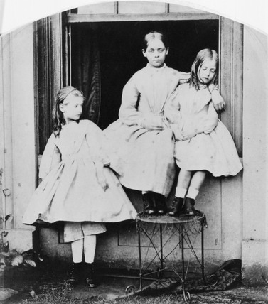 Three girls on the window sill at The Rectory, Croft, Yorks.