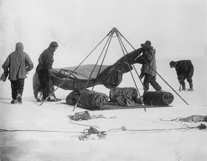 Captain Robert Falcon Scott and companions at the Antarctic, 1912.