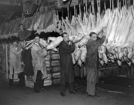 Loading up turkey and pork for the Christmas rush.
