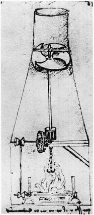 Da Vinci design for an airscrew operated smoke-jack, 1480-1482.