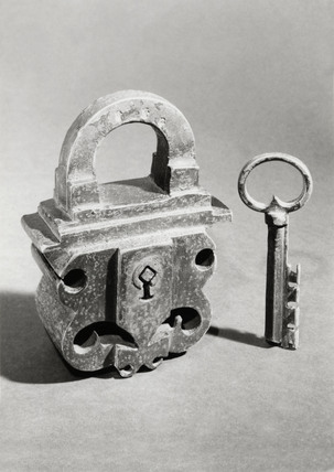 Heavy wrought iron padlock and key, European, c 17th and 18th century.
