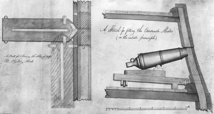 Carronade and mounting, c 1795.