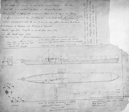 'Pyroscaphe', Jouffry's steamboat, 1783.
