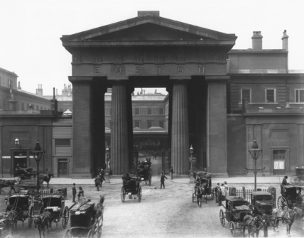 The Doric portico at the entrance to Euston Station, 7 September 1904.