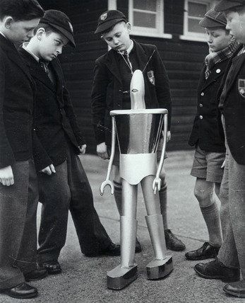 Schoolboys with robot, 29 December 1955.