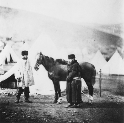 Colonel Lowe and servant in winter dress, c 1855.