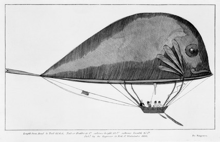 'Dolphin', fish-shaped balloon, 1835.
