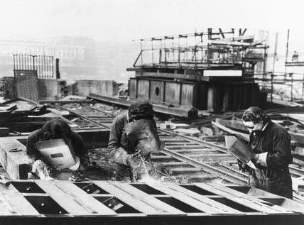 Women acetylene welders at work, c. 1946.
