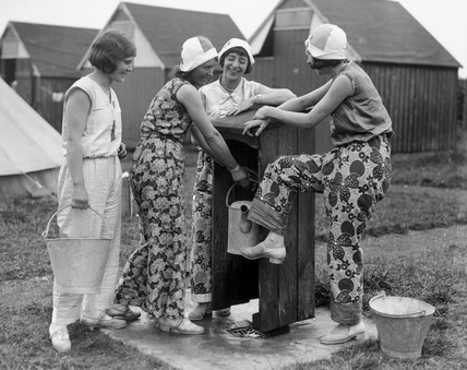 Campers at the water pump, Caister Holiday