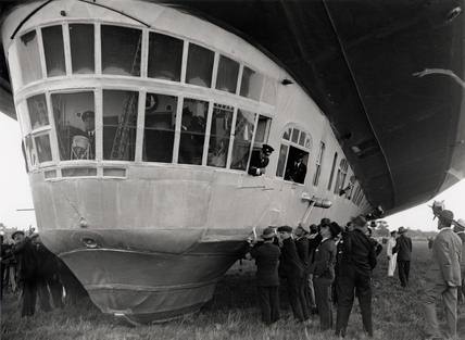 Passengers looking out of the window of the Graf Zeppelin, Hanworth, 1931.