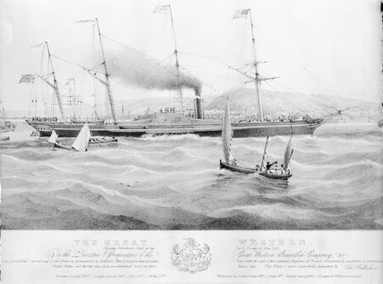 Paddle steamer 'Great Western' on her maiden voyage to New York, 1838.