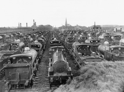 GWR broad gauge locomotives, Swindon Works, Wiltshire, 1892.