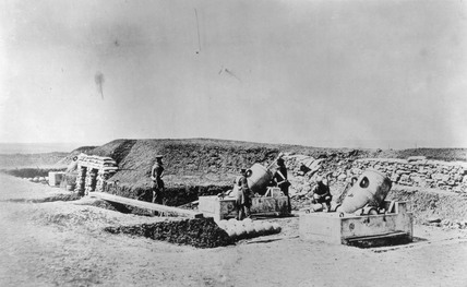 Mortar Batteries in front of Picquet House, Light Division, c 1855.