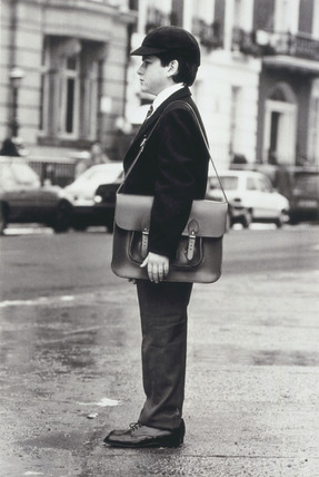 Schoolboy wearing a school uniform, 20 January 1987.