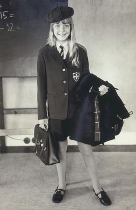 Schoolgirl in school uniform, 9 September 1970.