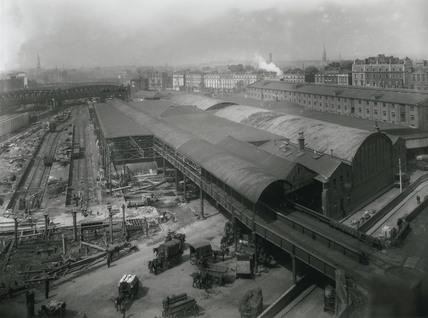 Demolition of the old goods depot at Paddington Station, London, July 1925.