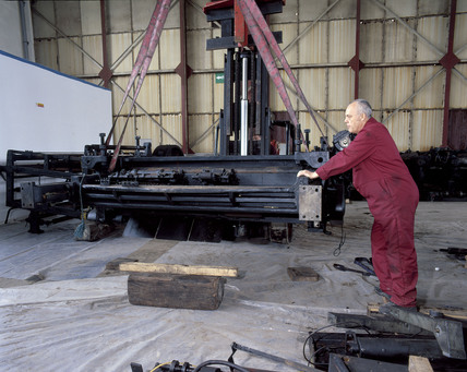 Reassembling the Wood printing press, 2001.