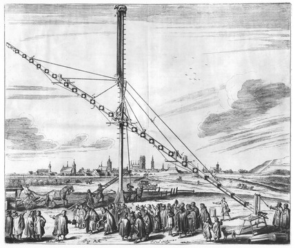 Long aerial telescope on a stand ready for use, 1673.