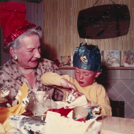 Little boy with his grandmother, Christmas,