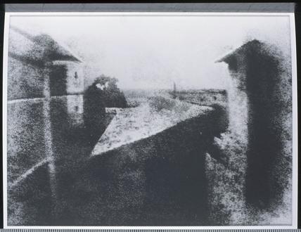 View from a window of Niepce's house, Saint-Loup- de-Varennes, c 1827.