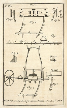 Jethro Tull seed drill, 1733.