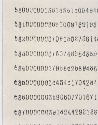 Detail of printout from Babbage's Difference Engine No 2, 2002.